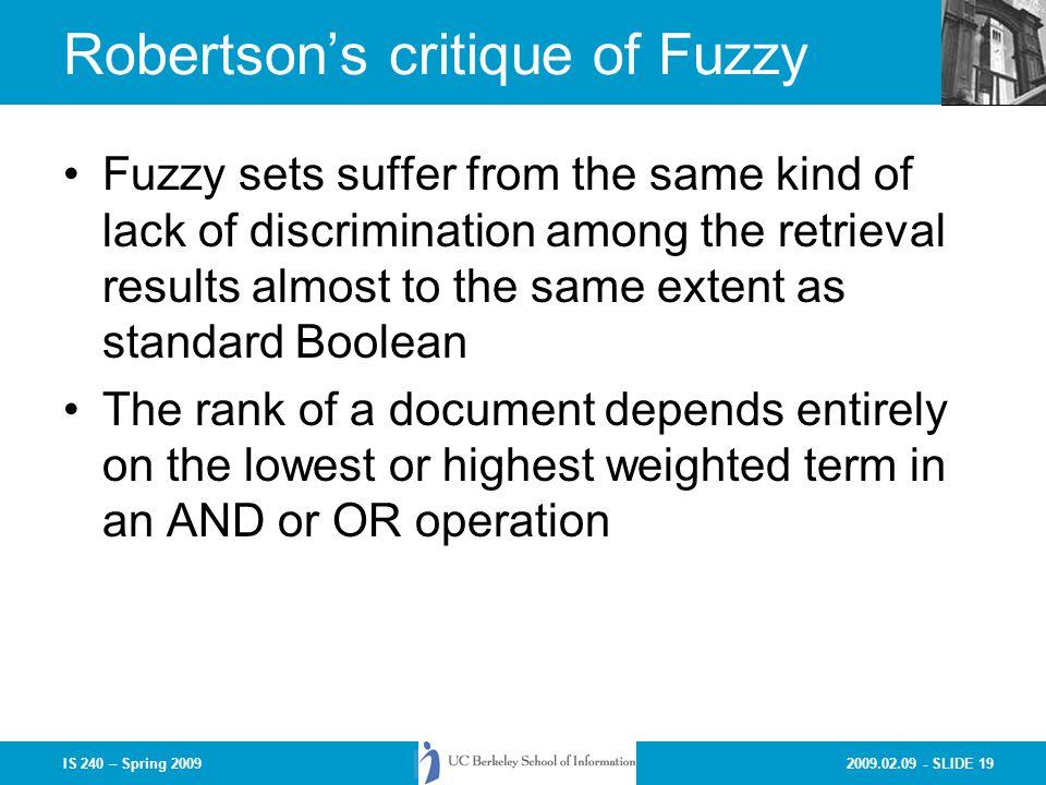 Robertson's critique of Fuzzy
