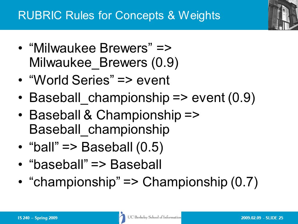 RUBRIC Rules for Concepts & Weights