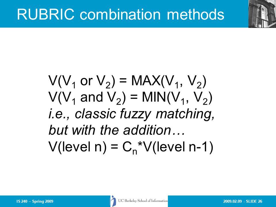 RUBRIC combination methods