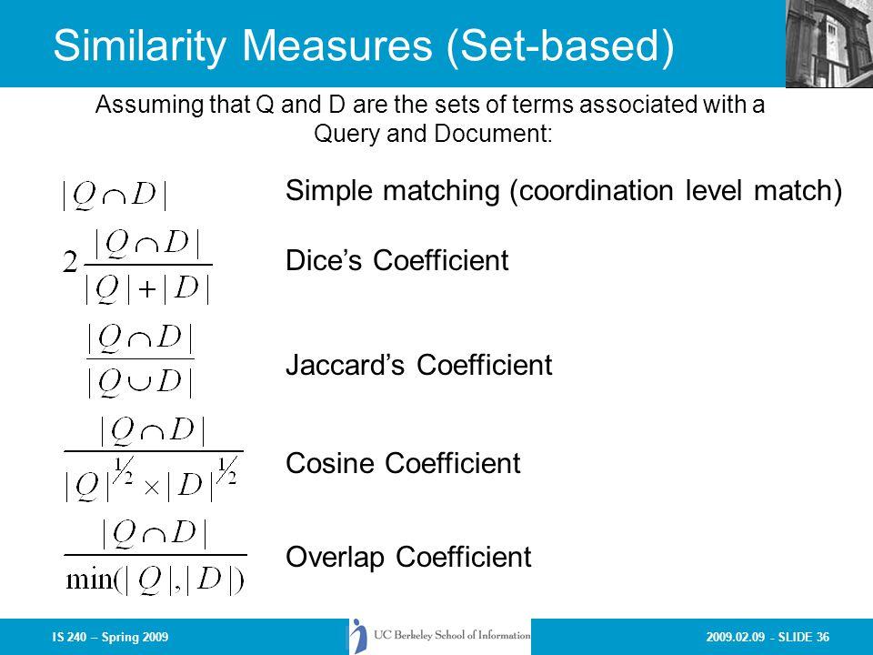 Similarity Measures (Set-based)