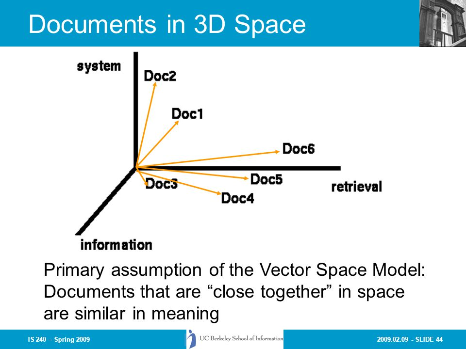 Documents in 3D Space Primary assumption of the Vector Space Model:
