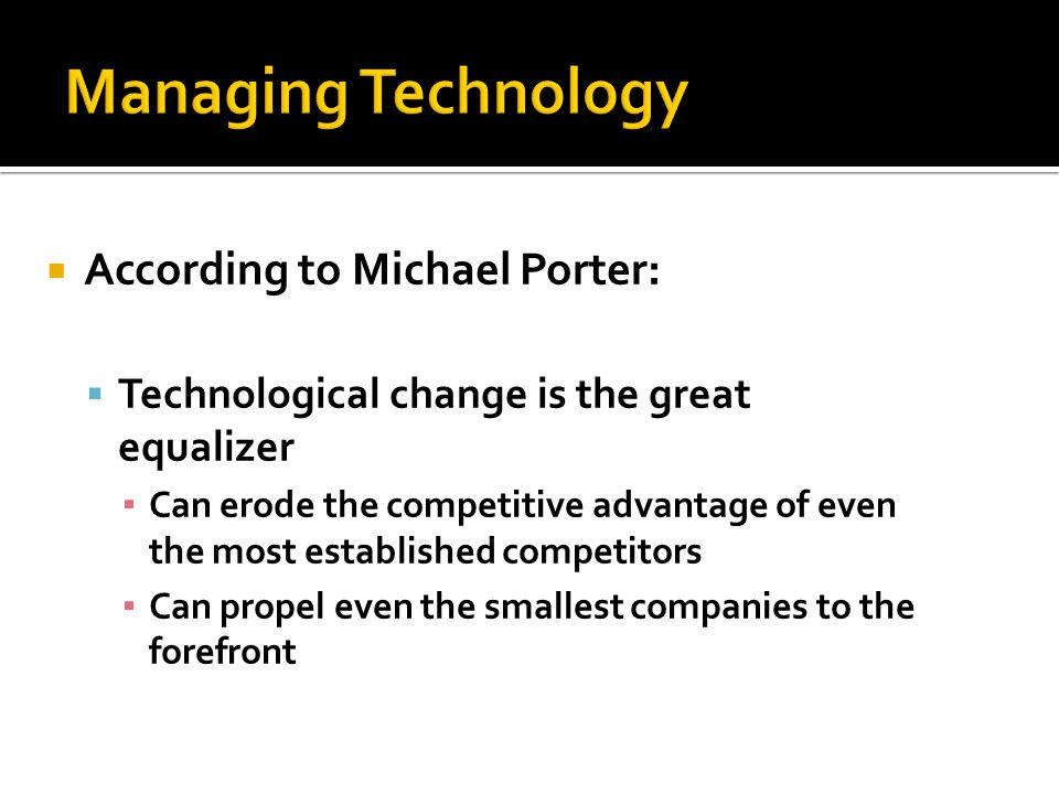 Managing Technology According to Michael Porter:
