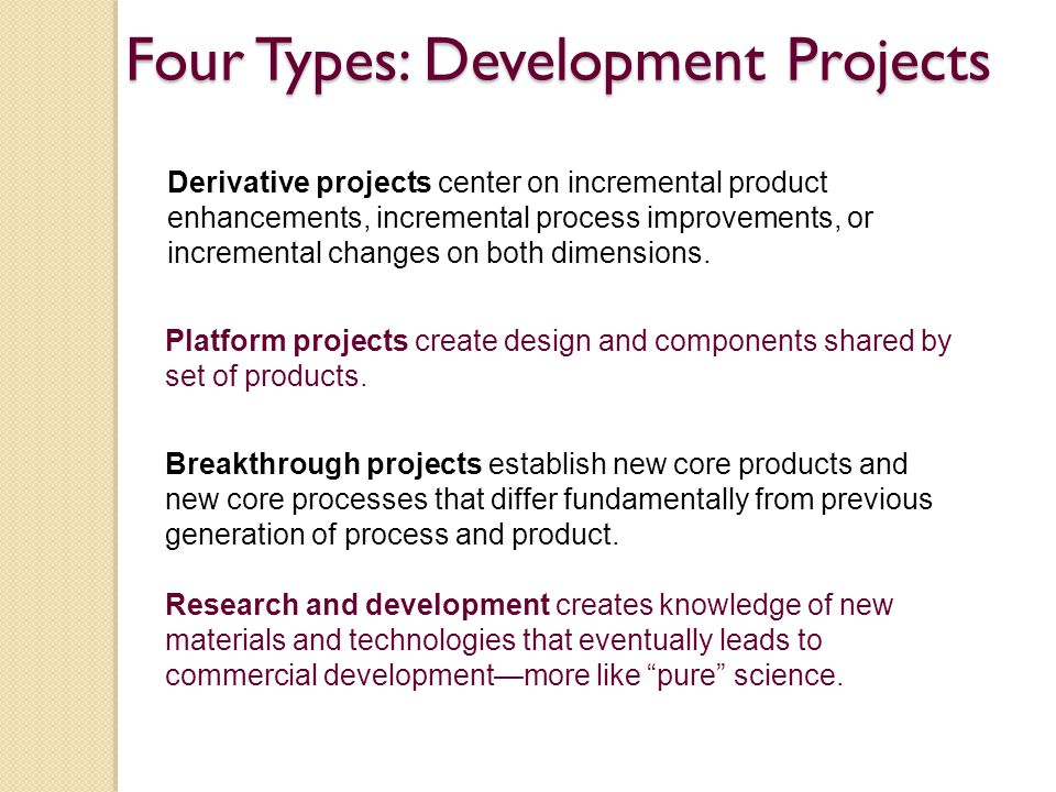 Four Types: Development Projects
