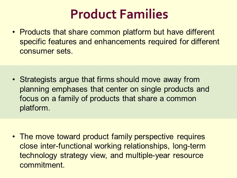Product Families Products that share common platform but have different specific features and enhancements required for different consumer sets.