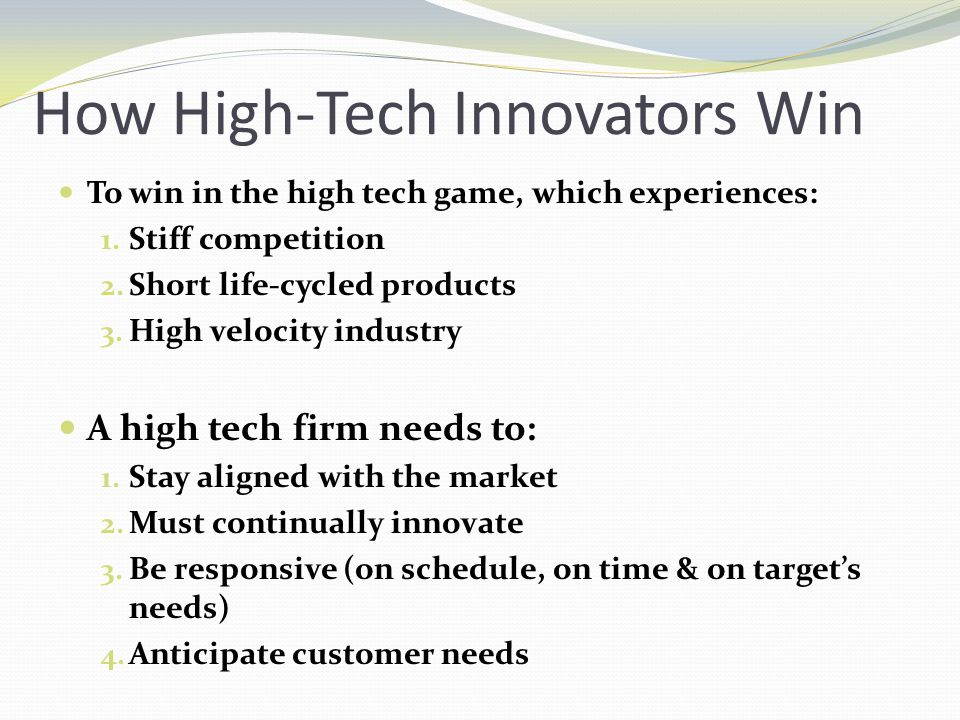 How High-Tech Innovators Win