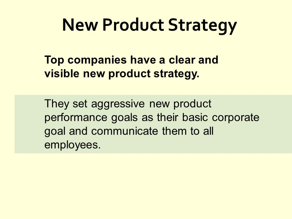 New Product Strategy Top companies have a clear and visible new product strategy.