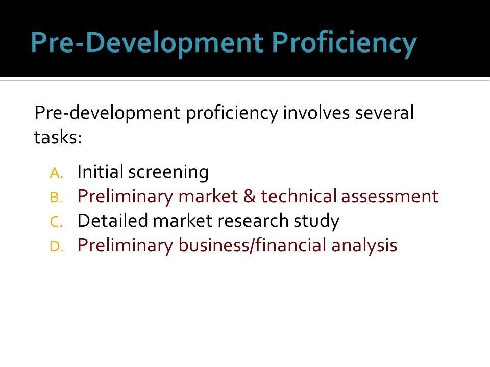 Pre-Development Proficiency
