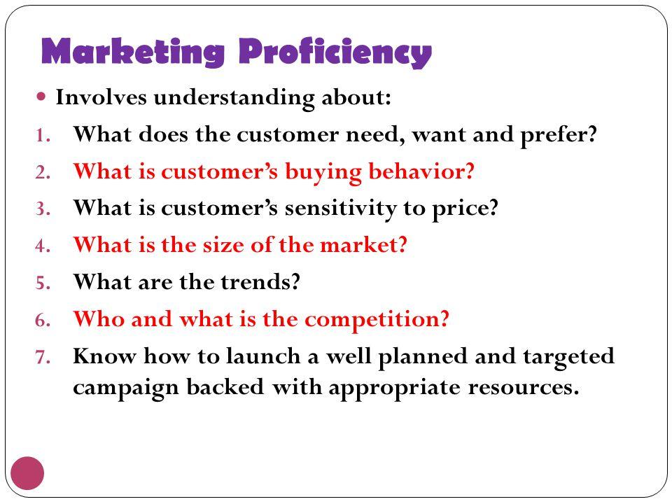 Marketing Proficiency