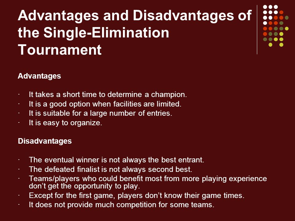 Advantages and Disadvantages of the Single-Elimination Tournament