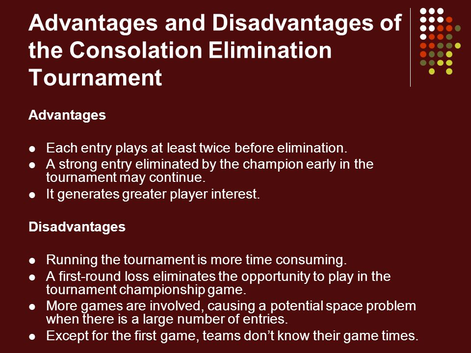 Advantages and Disadvantages of the Consolation Elimination Tournament