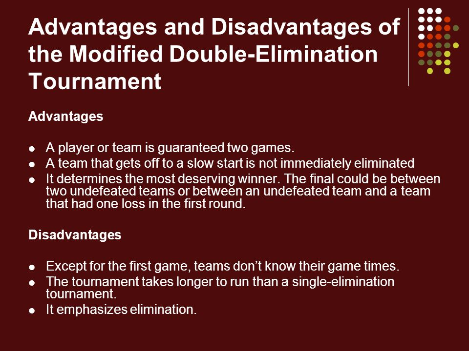 Advantages and Disadvantages of the Modified Double-Elimination Tournament