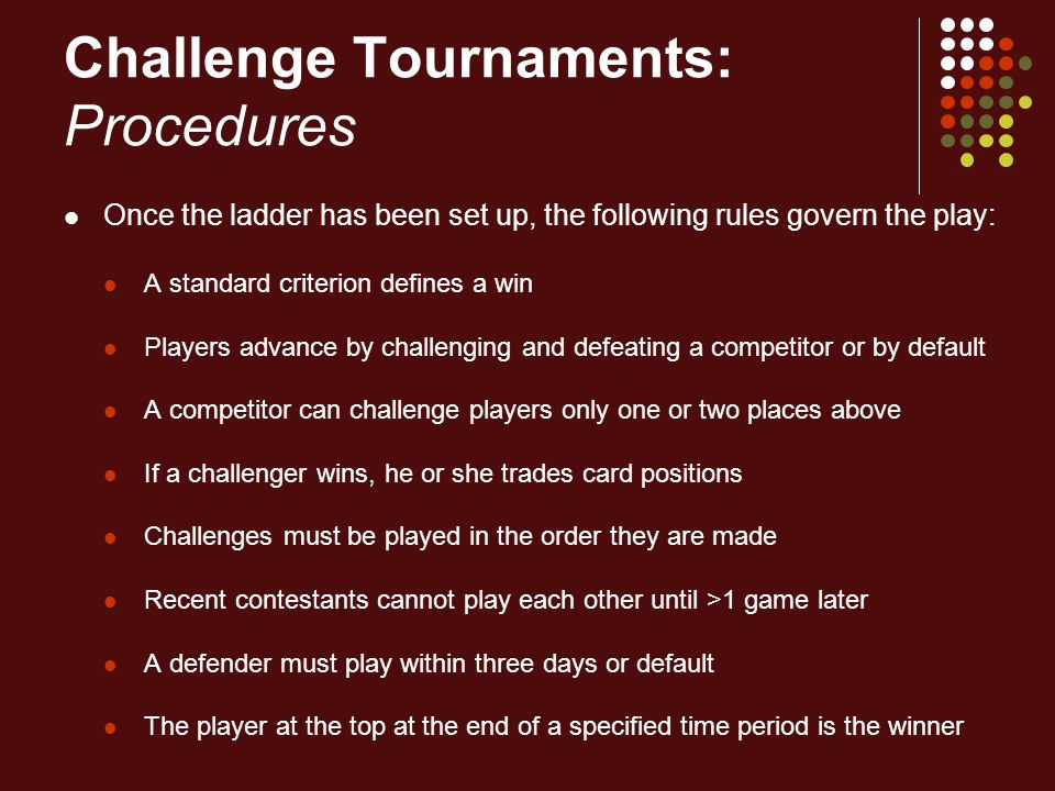 Challenge Tournaments: Procedures