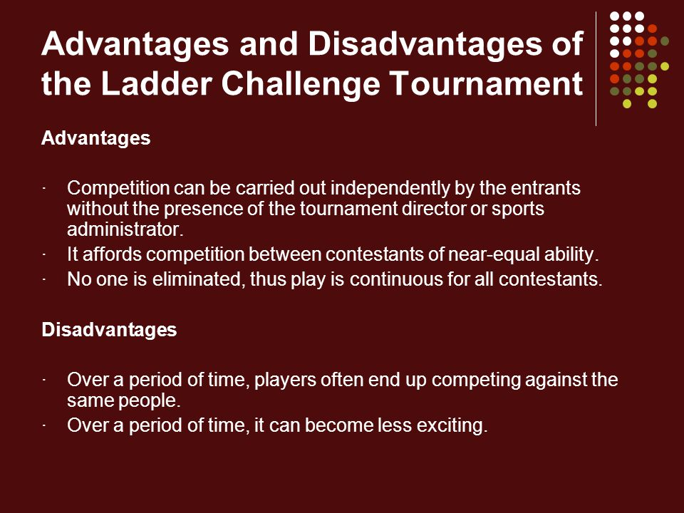 Advantages and Disadvantages of the Ladder Challenge Tournament