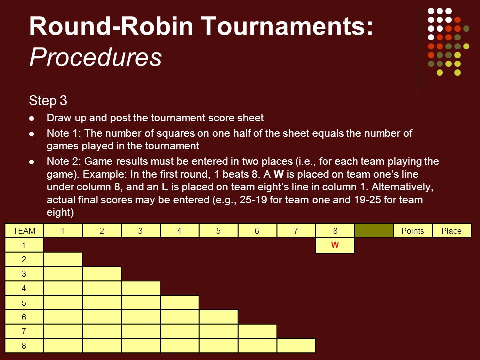 Round-Robin Tournaments: Procedures