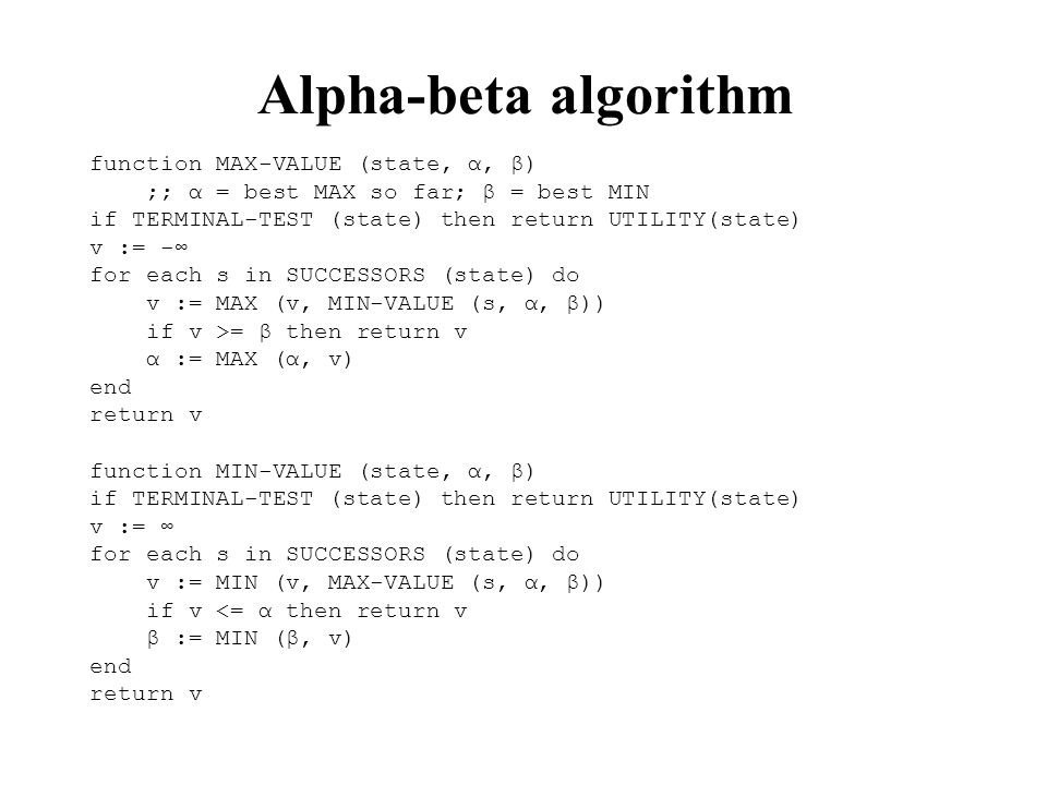 Alpha-beta algorithm function MAX-VALUE (state, α, β)
