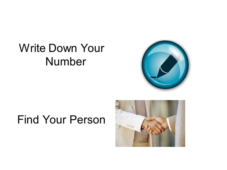 Write Down Your Number Find Your Person