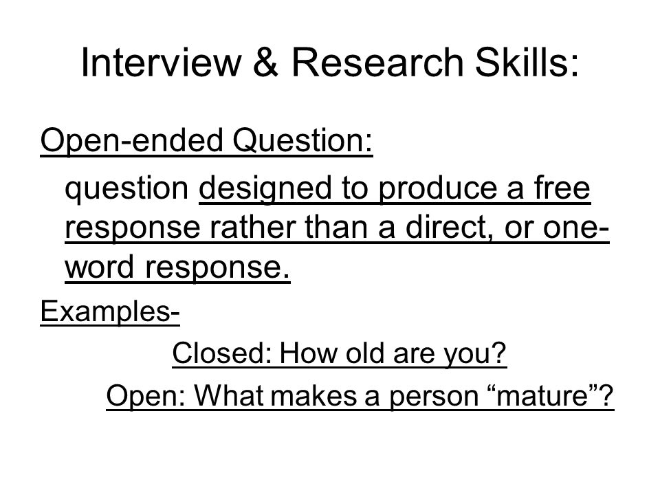 Interview & Research Skills: