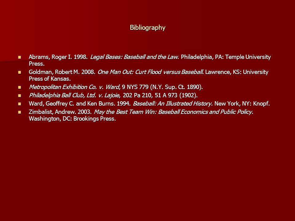 Bibliography Abrams, Roger I. 1998. Legal Bases: Baseball and the Law. Philadelphia, PA: Temple University Press.