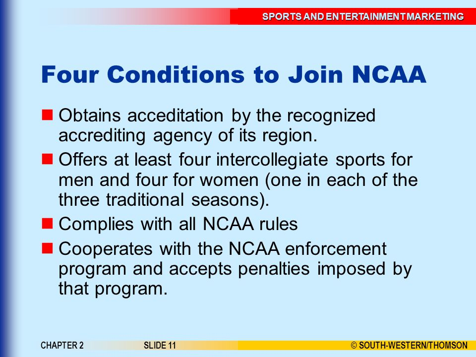 Four Conditions to Join NCAA