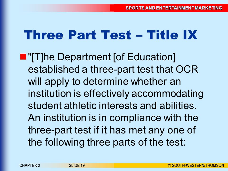 Three Part Test – Title IX