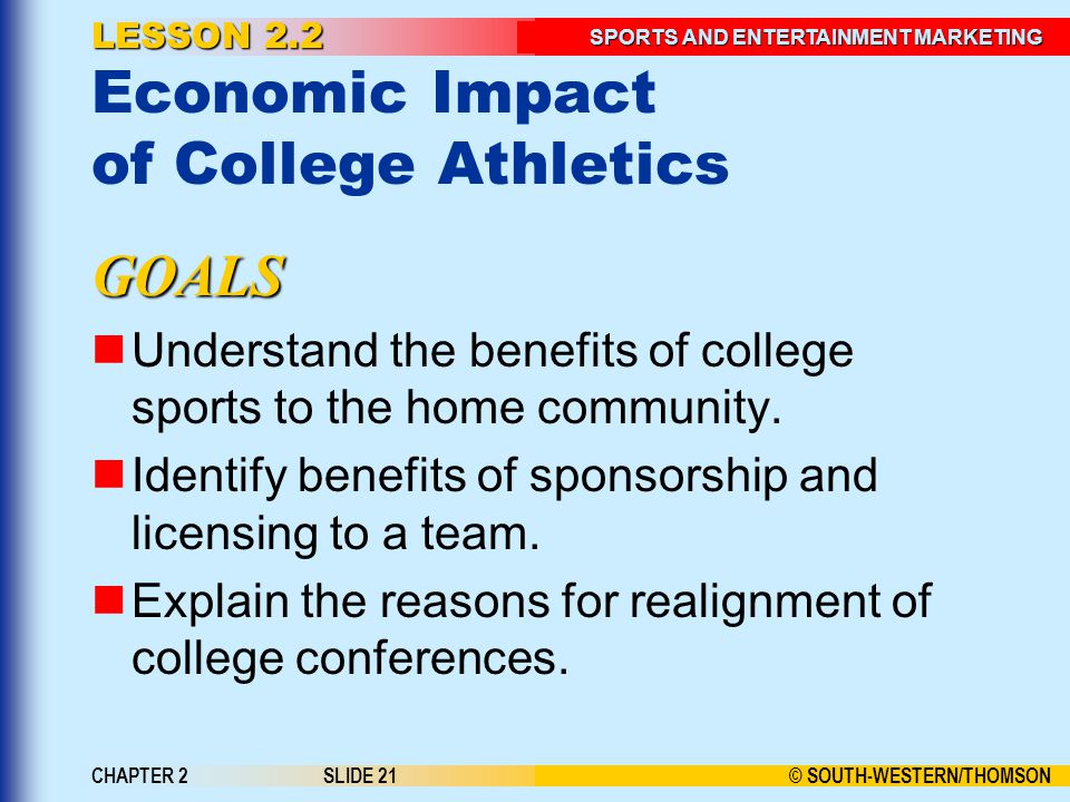 LESSON 2.2 Economic Impact of College Athletics