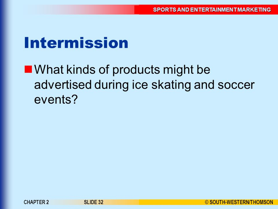 Intermission What kinds of products might be advertised during ice skating and soccer events.