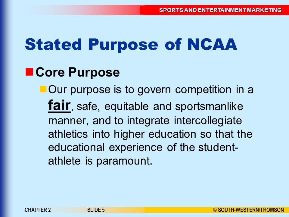 Stated Purpose of NCAA Core Purpose