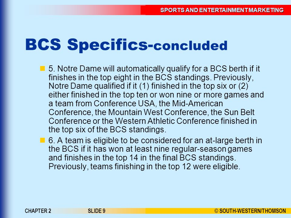 BCS Specifics-concluded