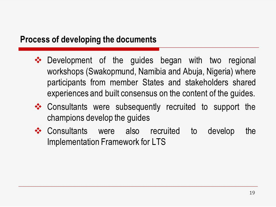 Process of developing the documents