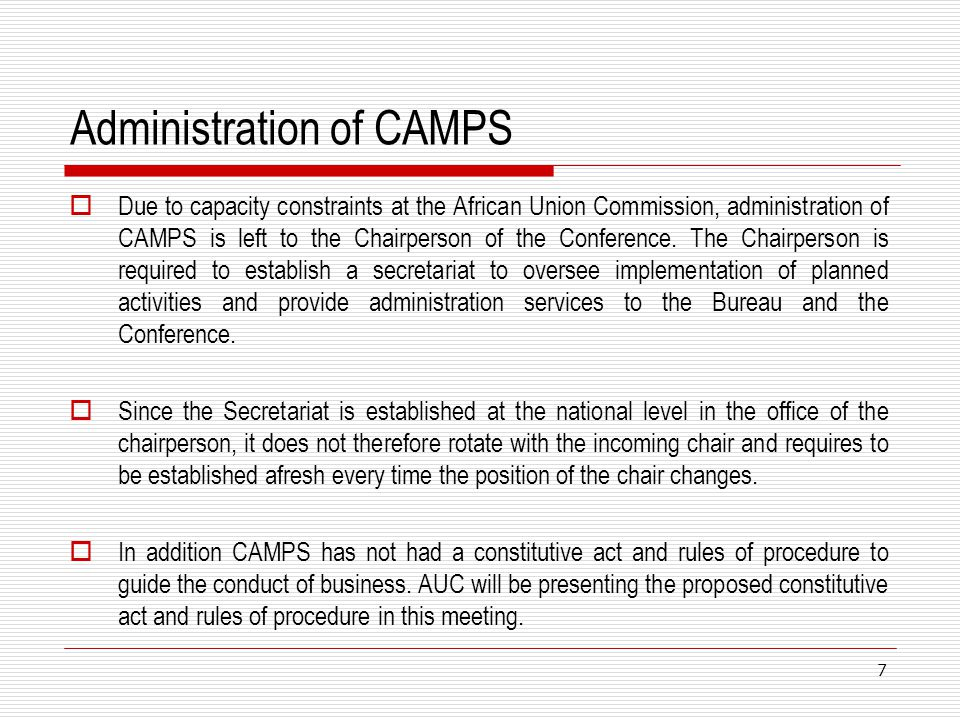 Administration of CAMPS
