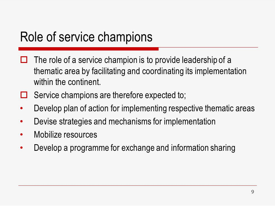Role of service champions