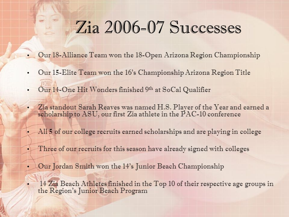 Zia 2006-07 Successes Our 18-Alliance Team won the 18-Open Arizona Region Championship.
