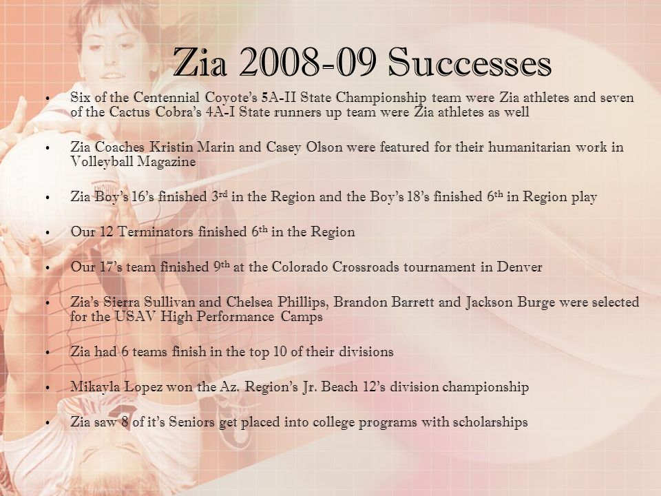 Zia 2008-09 Successes