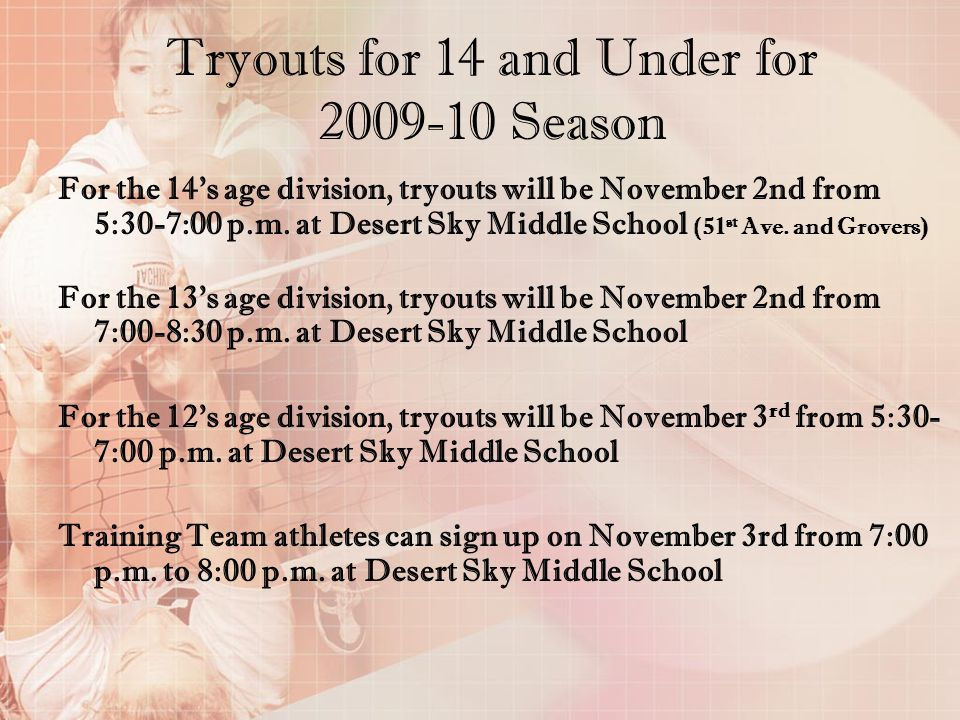 Tryouts for 14 and Under for 2009-10 Season
