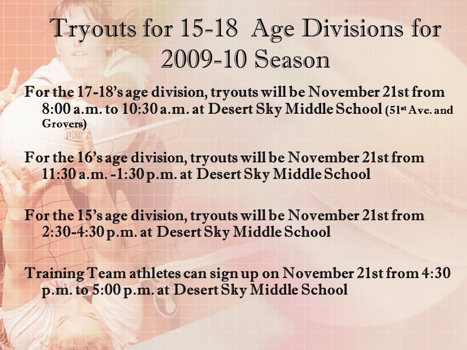 Tryouts for 15-18 Age Divisions for 2009-10 Season