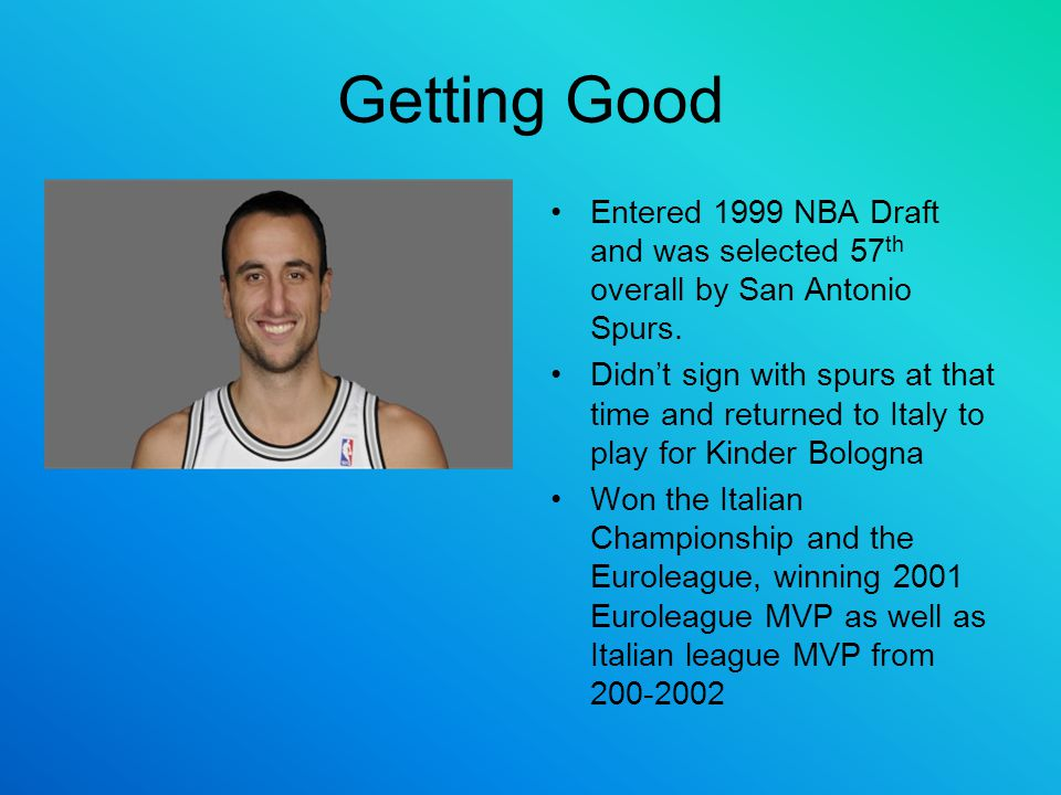 Getting Good Entered 1999 NBA Draft and was selected 57th overall by San Antonio Spurs.