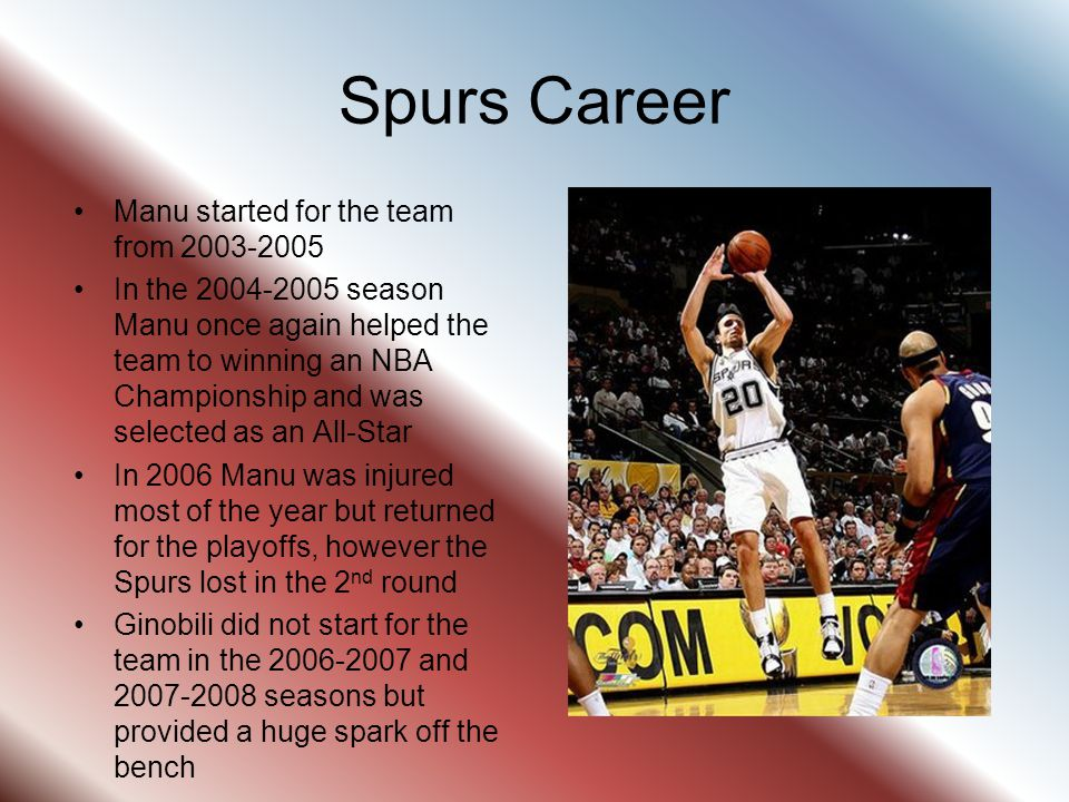 Spurs Career Manu started for the team from 2003-2005
