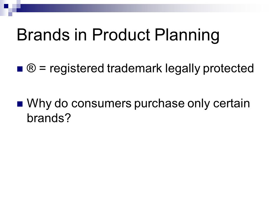 Brands in Product Planning