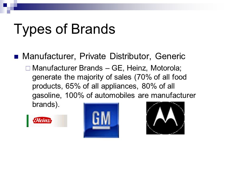 Types of Brands Manufacturer, Private Distributor, Generic