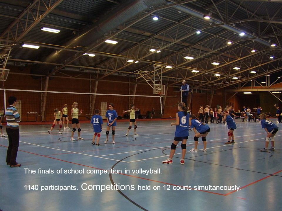 The finals of school competition in volleyball.
