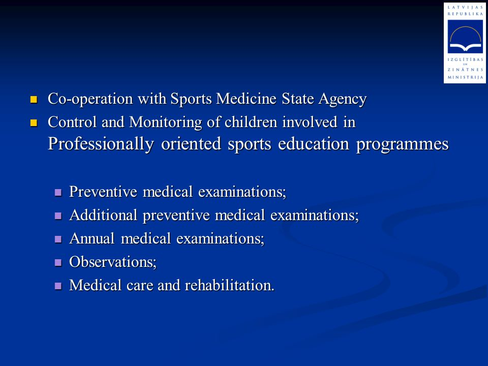 Co-operation with Sports Medicine State Agency