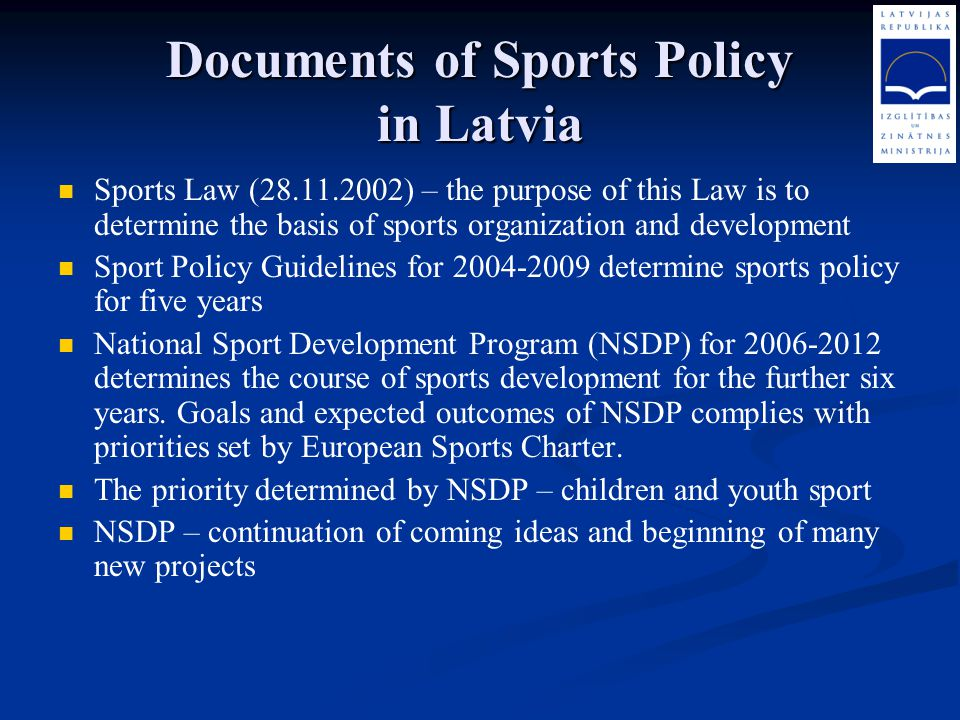 Documents of Sports Policy in Latvia