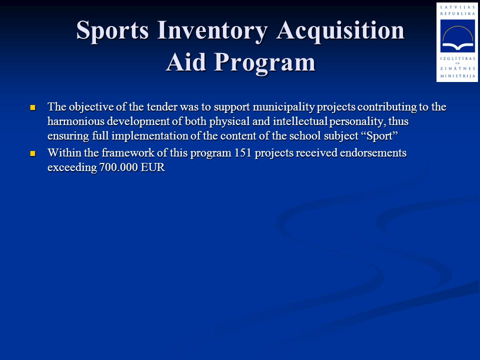 Sports Inventory Acquisition Aid Program