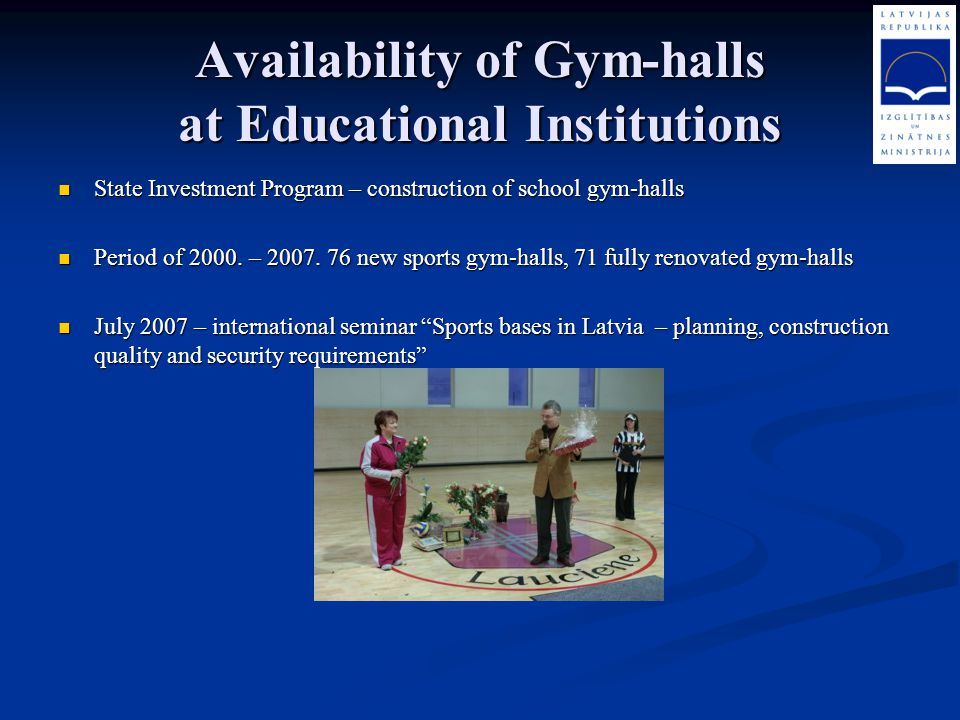 Availability of Gym-halls at Educational Institutions
