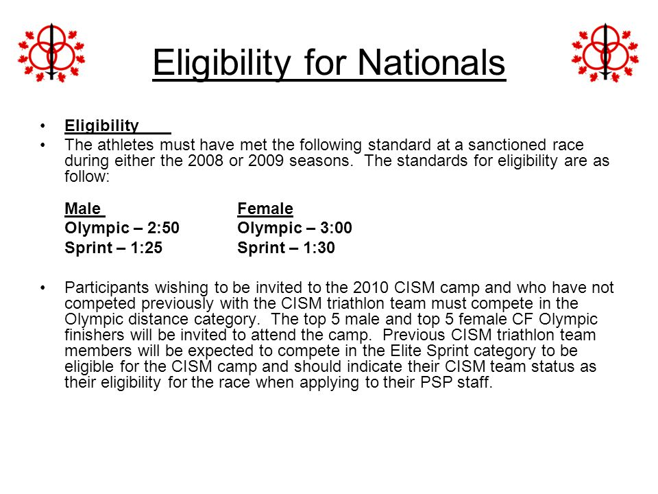 Eligibility for Nationals
