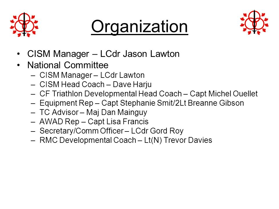 Organization CISM Manager – LCdr Jason Lawton National Committee