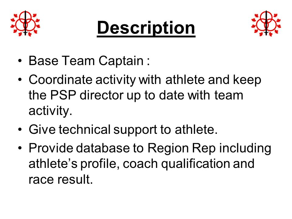 Description Base Team Captain :