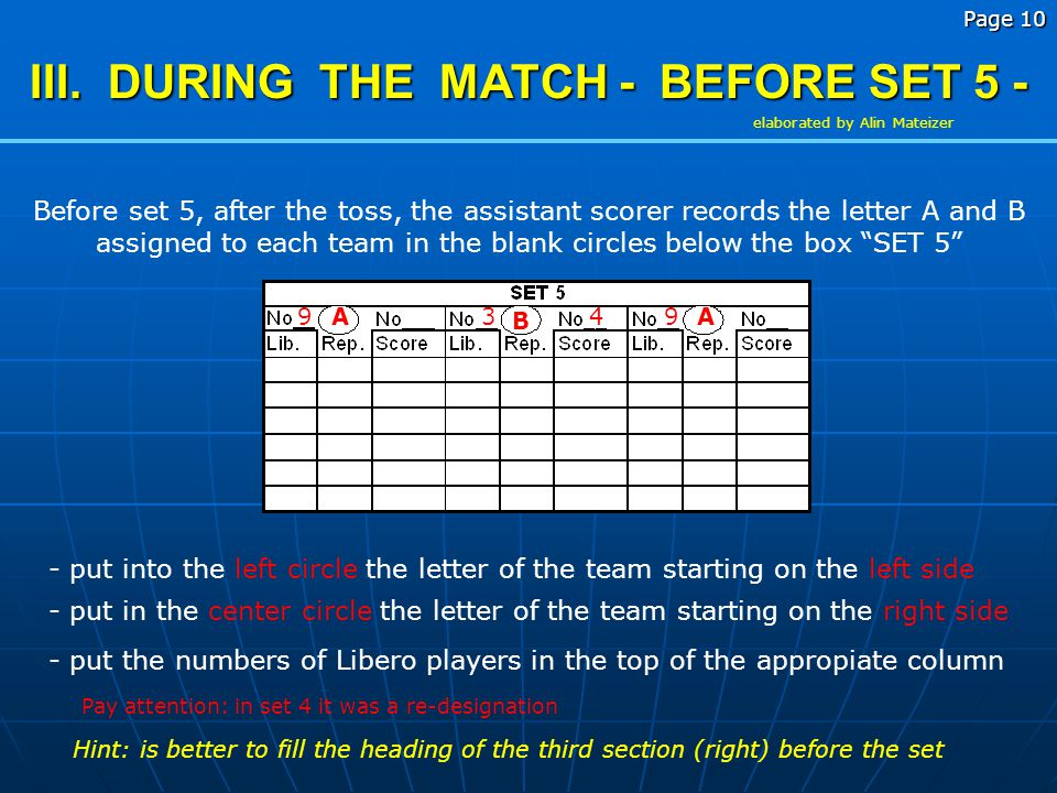III. DURING THE MATCH - BEFORE SET 5 -