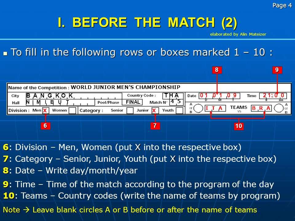 Page 4 elaborated by Alin Mateizer. I. BEFORE THE MATCH (2) To fill in the following rows or boxes marked 1 – 10 :