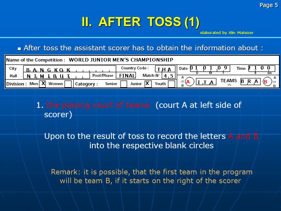 After toss the assistant scorer has to obtain the information about :